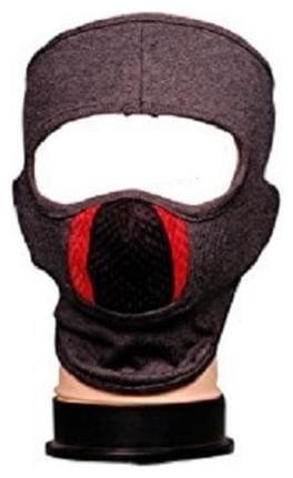 H-Store Ninja Grey Red Black Unisex Balaclava Lycra Face Mask, Bike Riding Mask