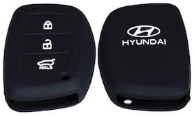 Harman Silicon Car Remote Key Cover For Hyundai Creta - Black
