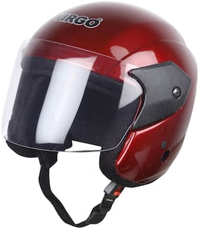 Helmet virgo no 1 ARU Color Wine Red Glossy finish visor color Clear