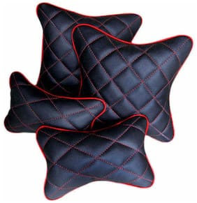 HI ART Black And Red Double Quilted Combo Set - Car Cushion Set + Car Neck Rests - Set Of 4 pcs