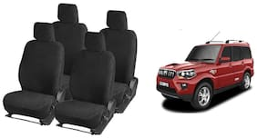 Hi Art Premium Qulaity Black Towel Seat Covers For Mahindra Scorpio 7 Seater Captain - Complete Set (Front + Rear)