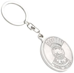High Quality Metal 50 Year Calender Key Chain (Pack of 1) Silver