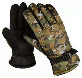 HM Evotek Green Warm Winter Riding Gloves Protective Cycling Bike Motorcycle Glove Free Size -1 Pair