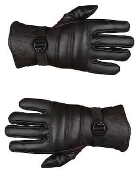 HM Evotek Soft Leather Warm Winter Riding Gloves, Protective Cycling Byke Bike Motorcycle Glove for Men (Black, Free Size) 1 Pair