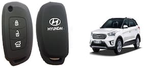 Hyundai Creta Car Key Cover Matte Black)