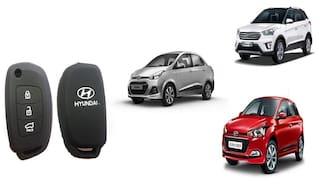 Hyundai New Xcent/Creta/Elite Silicon Car Key Cover (Matte Black)