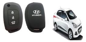 Hyundai New Xcent Silicon Car Key Cover (Matte Black)