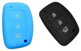 Hyundai Sky Blue,Black  Creta Car Key Cover (Pack Of 2)