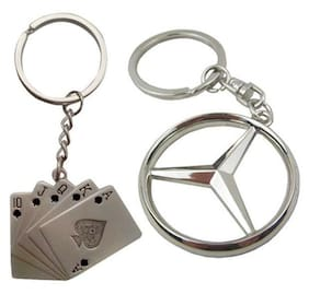 I-Gadgets Combo Of Playing Cards And Mercedes Benz Logo Metal Keychain
