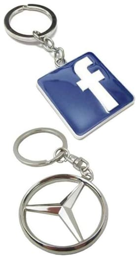 I-Gadgets Combo Of Facebok And Mercedes Benz Logo Keychain