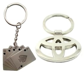 I-Gadgets Combo Of Playing Cards And Toyota Logo Metal Keychain