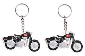 I-Gadgets Pack Of 2 Royal Enfield Motorcycle Rubber Keychain (Black, White)