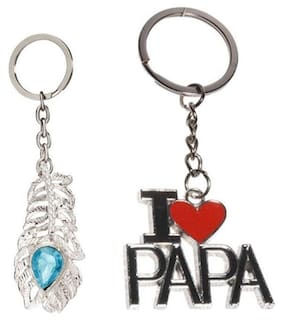 I-Gadgets Pack Of 2 Of Oh My God And I Love Papa Metal Keychain