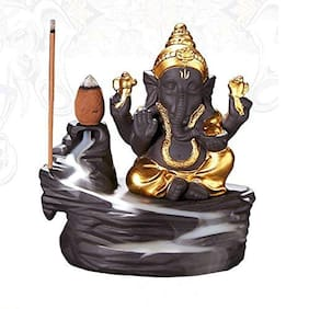 India Crafted Lord Ganesha Smoke backflow Cone Incense Holder with 10 Smoke Flow Scented Incense