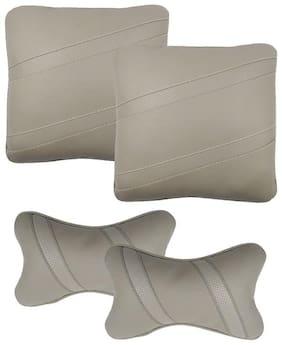 Infinity Fox Classic Cross Seat Cushion Neckrest Pillow Kit;Universal For All Cars;Grey;Set Of 4 Pcs