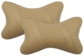 Infinity Fox Classic Cross Neckrest Cushion Neck Pillow;Universal For All Cars;Beige;Set Of 2 Pcs