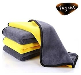 INGENS Microfiber Cloth for Car Cleaning and Detailing, Dual Sided, Extra Thick Plush Microfiber Towel Lint-Free(PACK OF 4), YELLOW 800 GSM, 40cm x 45cm