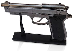 JGG JAIN GIFT GALLERY Antique Red Flame Heavy Weight Refillable Revolver Gun Shape Cigarette Gas Lighter with Stand