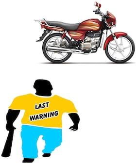 JUST RIDER 6x6 Last Warning Hero Splendor Bike Sticker