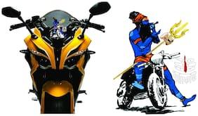 Just rider Radium Stickers for Bhole with mahakal Blue