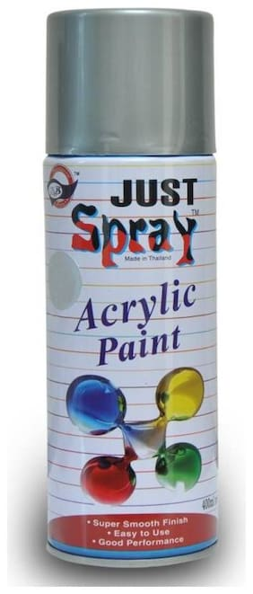 JUST SPRAY METALLIC SILVER Color Multipurpose General Spray Paint for CarM Bike, Home, Etc 400 Ml