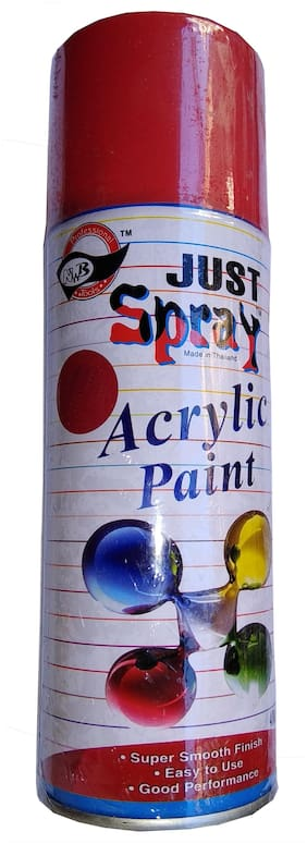 JUST SPRAY P O RED Color Multipurpose General Spray Paint for CarM Bike, Home, Etc 400 Ml