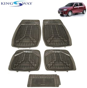 Kingsway PVC Rubber Car Mats 3G Plus of Heavy Quality for Maruti Suzuki Alto 800 (Old Model) (Set of 5;Smoke Color;Tray Mats)