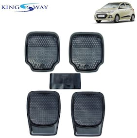 Kingsway PVC Rubber Car Mats 3G Plus of Heavy Quality for Hyundai Grand i10 (Set of 5;Black Color)