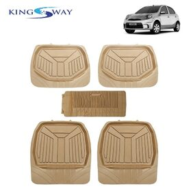 Kingsway PVC Rubber Car Mats 3G Plus of Heavy Quality for Nissan Micra Active (Set of 5;Beige Color)
