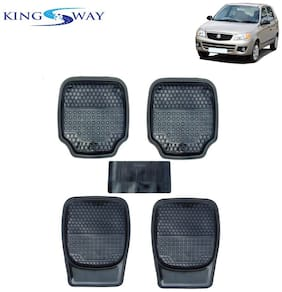 Kingsway PVC Rubber Car Mats 3G Plus of Heavy Quality for Maruti Suzuki Alto k10 (Old Model) (Set of 5;Black Color)