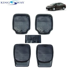 Kingsway PVC Rubber Car Mats 3G Plus of Heavy Quality for Honda City I-DTEC (New Model - 2017) (Set of 5;Black Color)