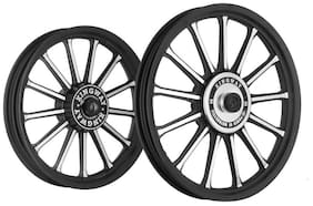 Kingway SR2B 13 Spokes Bike Alloy Wheel Set of 2 19/19 Inch Black CNC-Royal Enfield Thunderbird 350 Type 1