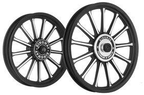 Kingway SR2B 13 Spokes Bike Alloy Wheel Set of 2 19/19 Inch Black CNC for Royal Enfield Electra/Thunderbird