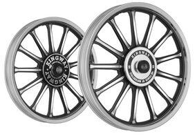 Kingway SR4A 13 Spokes Bike Alloy Wheel Set of 2 19/18 Inch CNC Black-Royal Enfield Thunderbird 350 Type 2