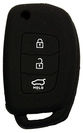 KMH Silicone Key Cover Fit For Hyundai New I20/New Verna/Xcent 3 Button Flip Key Models 2013 Onwards (Black)