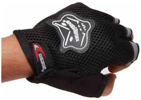 Knight Hood Black Half Gloves