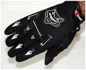 Knighthood 1 Pair of Hand Grip Gloves for Bike Motorcycle Scooter Riding - Black Color
