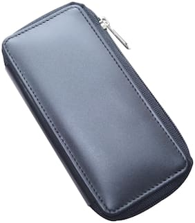 Knott Black Leather Multi key pouch with Zip Closure