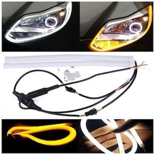 Kozdiko 2 pc 60Cm (24) Car Headlight Led Tube Strip;Flexible Drl Daytime Running Silica Gel Strip Light (Yellow;White) for Tata Grand Dicor