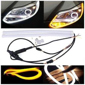 Kozdiko 2 pc 60Cm (24) Car Headlight Led Tube Strip;Flexible Drl Daytime Running Silica Gel Strip Light (Yellow;White) for Maruti Suzuki Baleno