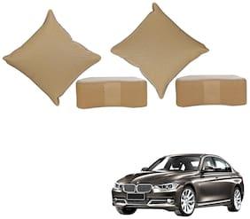 Kozdiko Beige Leatherite Cushion and Neck Pillow Kit set of 4 pc for Mahindra TUV-300