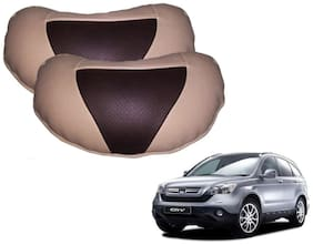 Kozdiko Beige Brown Neck Leatherite Car Pillow Cushion Kit 2 pc for Honda CR-V