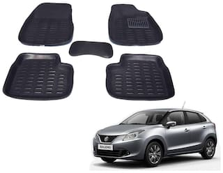 Kozdiko Car 3D Mats Foot mat Black Color for Maruti Suzuki Baleno Nexa
