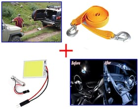 Kozdiko Combo 3 Ton 2.65 m Nylon Towing Cable + SMD/LED Interior Roof Ceiling White Color Light
