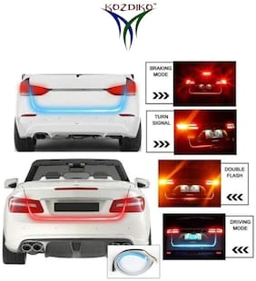 Kozdiko LED Ice Blue & Red DRL Brake With Side Turn Signal & Parking Indication Dicky;Trunk;Boot Strip Light for Hyundai Eon