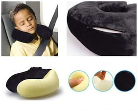 Kozdiko Orthopaedic Velvet Memory Foam Car U Shaped Black Travel Neck Rest Cushion Pillow 1 pc for Tata Tiago