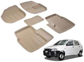Kozdiko Premium 3D mats foot mats Beige color set of 5 pcs Maruti Suzuki Alto