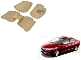 Kozdiko Premium Quality 3D Mats for Honda City Idtec(Beige)