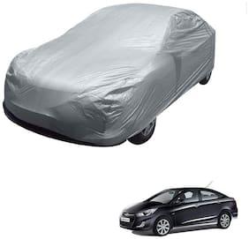 Kozdiko Silver Matty Car Body Cover with Buckle Belt For Hyundai Verna Fluidic