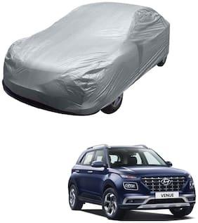 Kozdiko Silver Matty Car Body Cover with Buckle Belt For Hyundai Venue